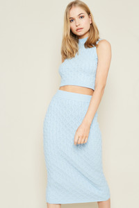 Blue Sleeveless High Neck In Chunky Knit