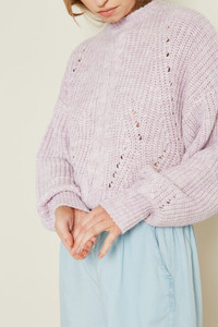 Chunky Knitted Jumper With Marled Pink Yarn