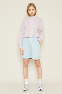 Tencel Denim Shorts With Elasticated Waist And Statement Buttons