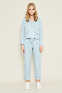Paper Bag Waist Tencel Denim Trouser With Button Detail