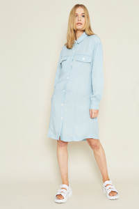 Shirt Dress In Denim Tencel With White Mock Horn Buttons