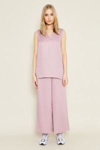 Culotte With Elastic Back Fastening In Cropped Length