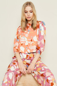 Cropped Mix And Match Printed Blouse With Puff Sleeves