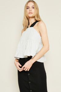 Tiered Blouse With Contrasting Stripe Panels And Thick Contrast Straps