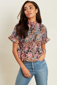 Ditsy Print Shirred Peplum Hem Top with Ruffle Sleeves