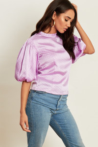 Lilac Spot Satin Shell Top with Ruffle Collar and Puff Sleeves