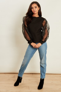 Black Jumper With Organza Sleeves