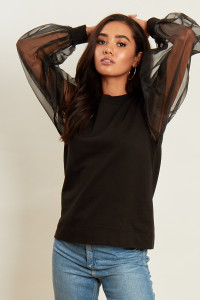 Black Jumper With Organza Sleeves