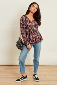 Ditsy Floral Print Long Sleeve Tea Top