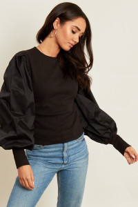 Black Jumper with Cotton Puff Sleeves