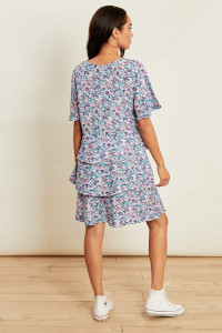 Ditsy Floral Print Tiered Button Down Smock Dress