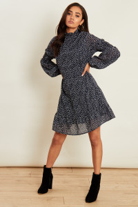 Navy Polka Dot High Ruffle Neck Georgette Dress