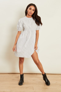 White Polka Dot Smock Dress with Short Puff Sleeves