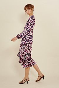 Pink Satin Animal Print Ruffle Hem Wrap Midi Dress