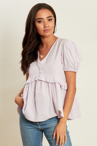 Lilac Button Front Ruffles Peplum Top with Short Puff Sleeves