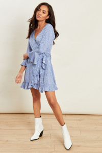 Blue White Spot Flared Sleeve Ruffle Hem Wrap Mini Dress