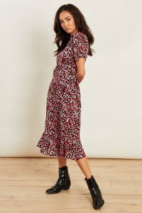 Black Pink Floral Print Tie Sleeve Midi Dress