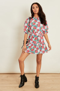 Floral Print Dress with Neck Gathers and Self Fabric Belt
