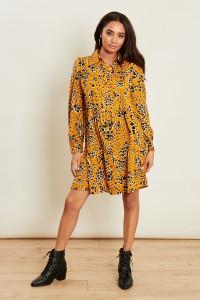 Mustard Heart Print Button Down Smock Shirt Dress