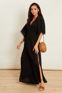 Black Beach Kimono with Side Splits Crochet and Tassle Trims