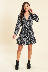 Black Animal Print Ruffle Wrap Dress with Skirt