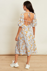 Retro Print Puff Sleeve Open Back Detai Midi Dress