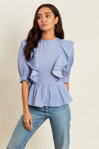 Blue Polka Dot Print Shell Top With Ruffles