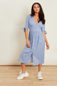 Blue Polka Dot Button Down Midi Dress with Self Fabric Tie Sleeves