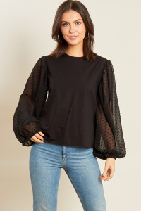 Black Cotton Top with Dobby Mesh Balloon Sleeves