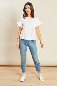 White Jersey T Shirt with Cotton Poplin Ruffle Cuffs