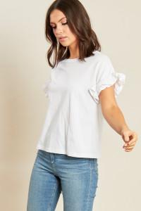 White Jersey T Shirt with Cotton Poplin Ruffle Cuffs