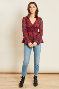 Wine Leopard Print Georgette Shirred Waist Tea Top