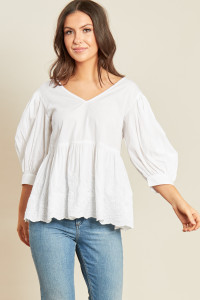 White Cotton V Neck Peplum Hem Puff Sleeve Smock Top