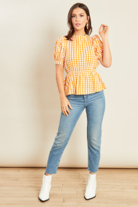 Yellow Gingham Peplum Hem Tie Back Top with Puff Sleeves