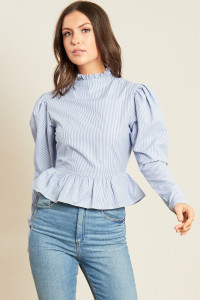 Blue White Stripe Cotton Poplin Puff Sleeve Peplum Hem Top