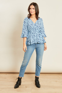 Blue Animal Print Ruffle Hem Frill Sleeve Belted Wrap Top