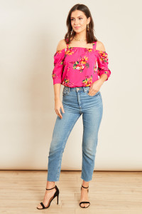 Pink Tropical Print Bardot Top