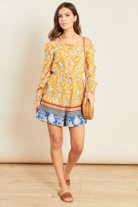 Yellow Paisley Border Print Bardot Flared Sleeve Playsuit