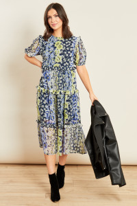 Blue Floral Print Midi Tiered Ruffle Detail Smock Dress