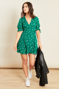 Green Spot Frill Hem Mini Wrap Dress