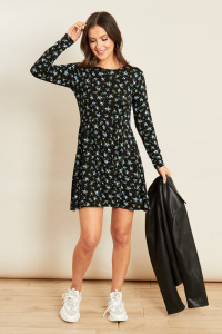 Black Jersey Ditsy Long Sleeve Mini Swing Dress