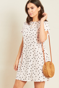 Pink Polka Dot Mini Smock Dress