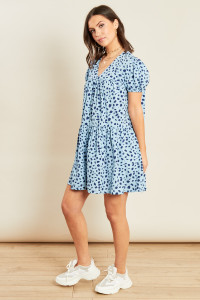 Blue Animal Print Button Down Smock Dress