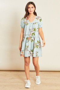 Blue Floral Print Button Down Smock Dress