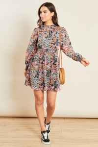 Pink Black Ditsy Print High Neck Shirred Waist Mini Dress