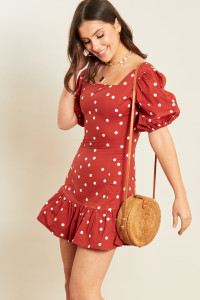 Rust White Spot Cotton Puff Sleeve Mini Dress