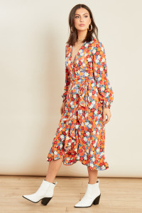 Multi Floral Print Ruffle Hem Wrap Midi Dress