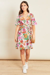 Multi Floral Print Wrap Frill Skater Mini Dress