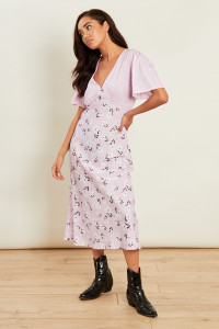 Pink Mixed Print Short Sleeve Midi Tea Dress