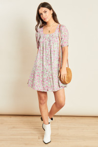 Lilac Floral Print Button Down Smock Dress with Square Neck